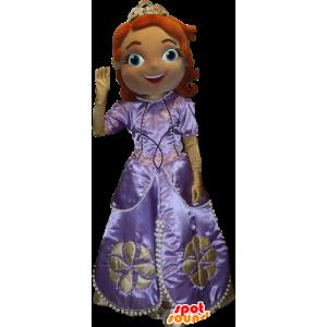 Rødhåret kvindelig maskot klædt ud som en prinsesse, en