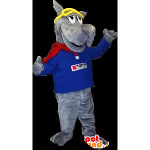 Mascotte de chien gris géant, mascotte de montagne - MASFR033098 - Mascottes de chien