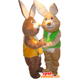 2 mascots brown rabbits soft wearing vests - MASFR033099 - Rabbit mascot