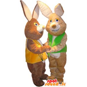 2 mascotte conigli marrone morbido indossando giubbotti - MASFR033099 - Mascotte coniglio