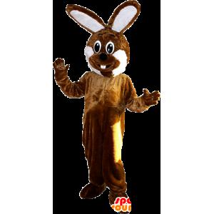 茶色と白の巨大ウサギのマスコット - MASFR033100 - マスコットのウサギ