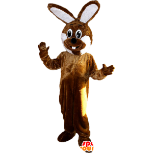Brown and white giant rabbit mascot - MASFR033100 - Rabbit mascot