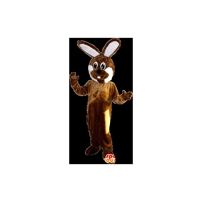 Brown and white giant rabbit mascot - MASFR033100 - Rabbit mascot
