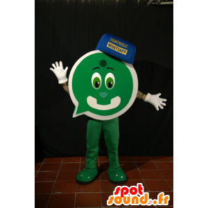 Grün Mann Maskottchen mit einer Form von Chat-Blase - MASFR033102 - Katze-Maskottchen