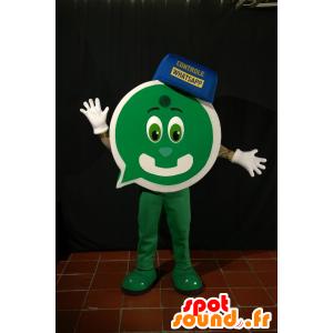 Groene mascotte mens met een vorm van praatjebel - MASFR033102 - Cat Mascottes