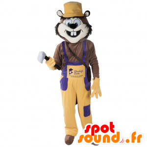 Rodent mascot, funny animal with overalls