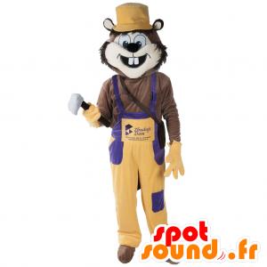 Mascote roedor, animal engraçado com macacões