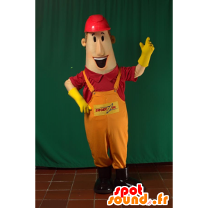 Mascot man in overalls with a hard hat - MASFR033105 - Human mascots