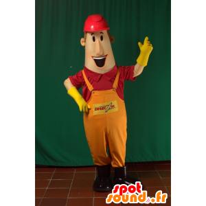 Mascotte d'homme en salopette avec un casque de chantier - MASFR033105 - Mascottes Homme