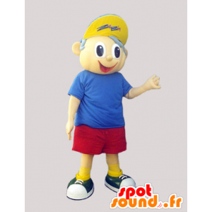 Mascot boy in shorts, t-shirt and cap - MASFR033107 - Mascots boys and girls