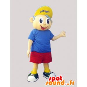 mascotte de petit garçon en short, t-shirt et casquette - MASFR033107 - Mascottes Garçons et Filles