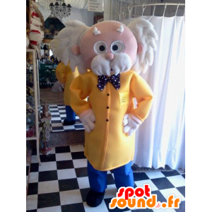 Zeer elegant papy mascotte met een jas en een vlinderdas - MASFR033108 - man Mascottes