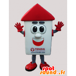 Witte en rode huis mascotte met grote ogen - MASFR033038 - mascottes Huis