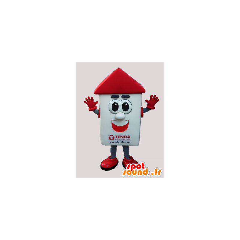 Valkoinen ja punainen talo maskotti suuret silmät - MASFR033038 - maskotteja House