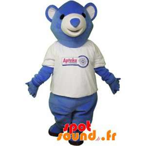 Blå och vit nallebjörnmaskot. Blå och vit björn - Spotsound