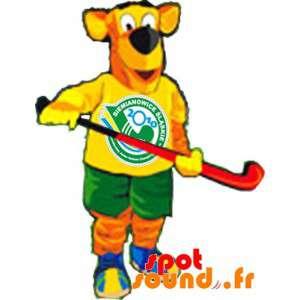 Oranje en Gele Mascot Dog...