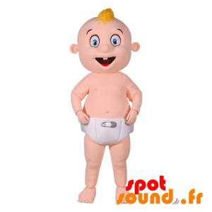 Bebê mascote gigante com uma fralda