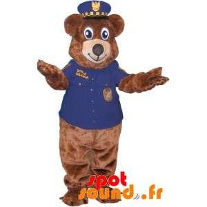 Brunbjørn maskot klædt i politiuniform - Spotsound maskot