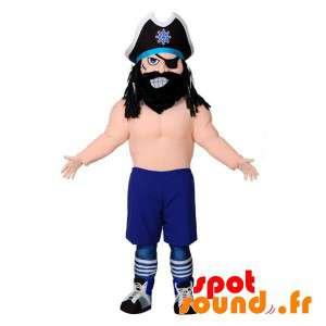 Piratmaskot med stor hatt och ögonlapp - Spotsound maskot