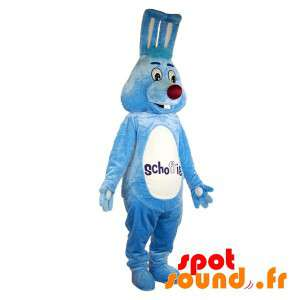 Blå kanin maskot og hvit,...