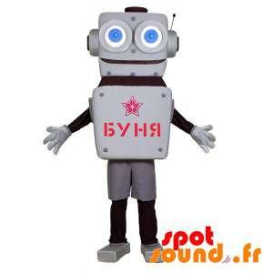 大きな青い目をしたマスコットグレーと黒のロボット