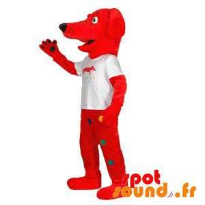 Mascotte de chien rouge...