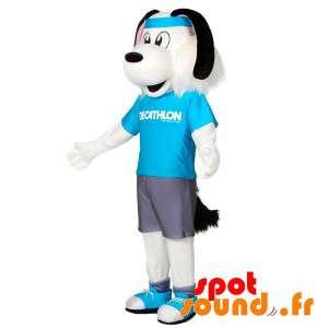 Hvit og svart hund maskot i...