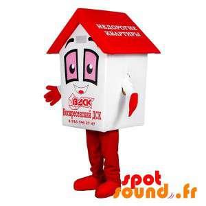 Mascotte de blanche et rouge, géante. Mascotte de cabane