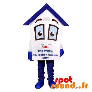 Mascotte de maison blanche et bleue très mignonne et rigolote