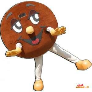 Mascotte de cookie géant rond, souriant et marron