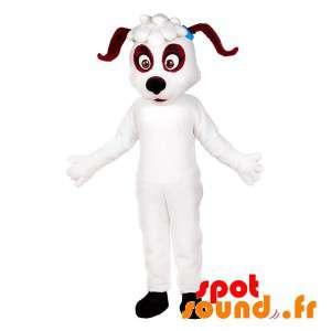Vit och brun hundmaskot. Hunddräkt - Spotsound maskot