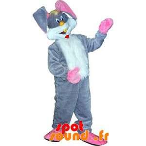Gray Rabbit Mascot, White...