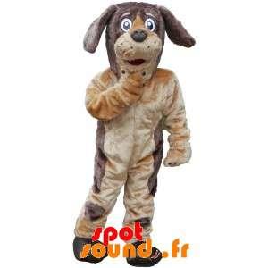 Mjuk och hårig brun och beige hundmaskot - Spotsound maskot