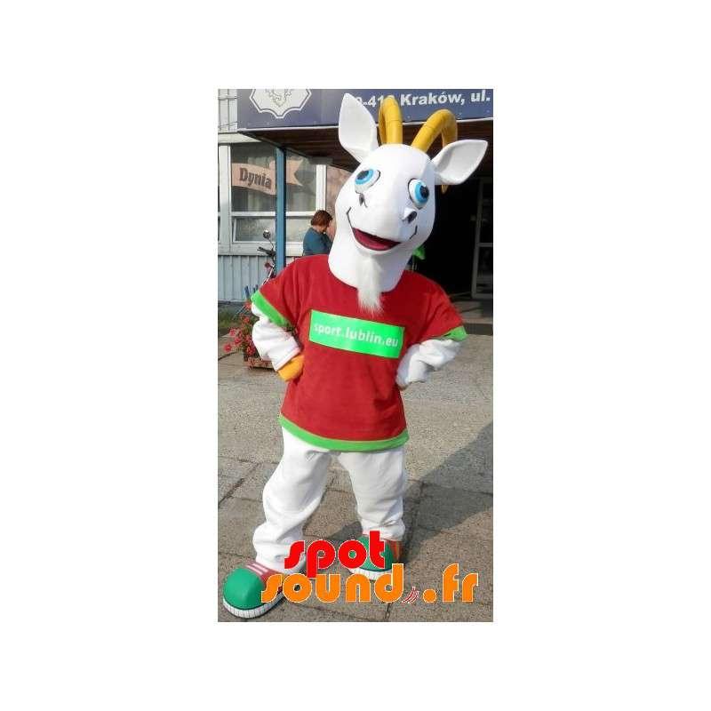 White And Yellow Goat Mascot. Mascot Goat