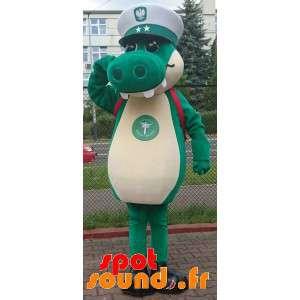 Mascotte coccodrillo verde con il cappello di un capitano