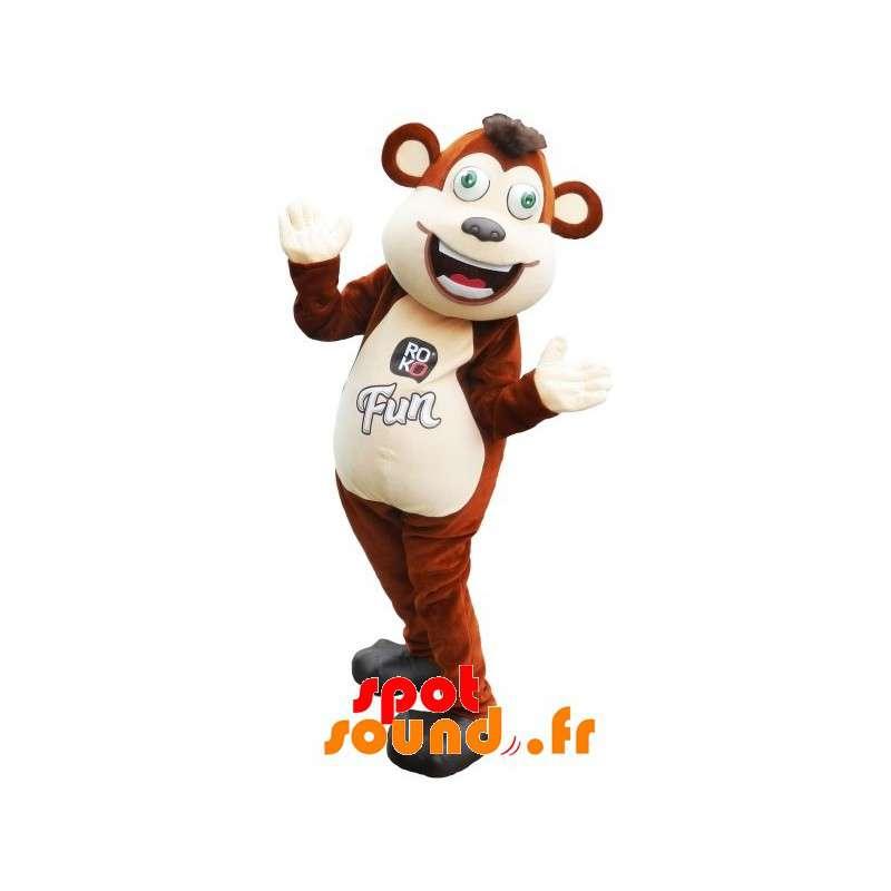 Mascot grande marrone e scimmia bianca con gli occhi verdi