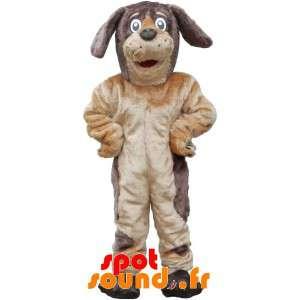 Mascotte de chien marron et...
