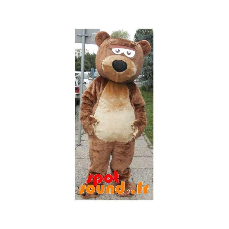 Mascot braun und beige Bär, süß und nett