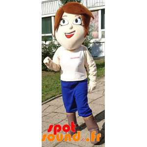 Maskotkvinde med kort hår med store øjne - Spotsound maskot