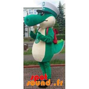 Zelený krokodýl maskot s kapitánem klobouk