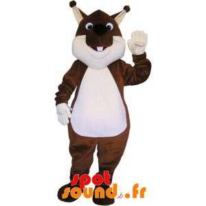 Meget sød og fyldig brun og hvid egern maskot - Spotsound maskot