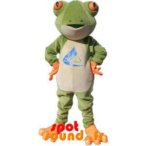 Mascot Green Frog, White...