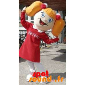 Blond Girl Mascot With Quilts