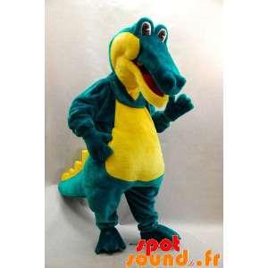 Zelený krokodýl maskot a sladký a zábavný žlutý