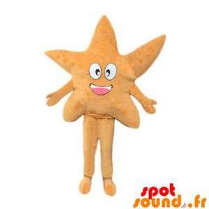 Mascotte d'étoile de mer beige, jolie et souriante