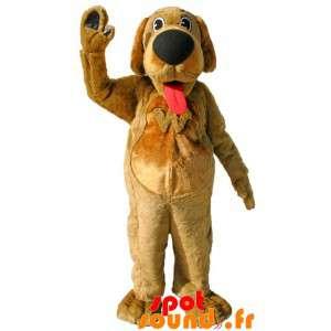 Brun hund maskot med en...