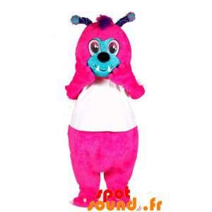 La mascota de color rosa y...