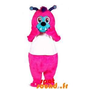 La mascota de color rosa y azul con las antenas de insectos