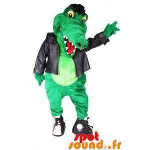 Mascotte de crocodile vert en tenue de rockeur