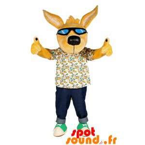 Żółty pies maskotka okulary